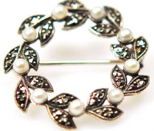 Silver Pearl And Marcasite Brooch